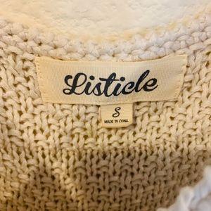 Listicle Tops - Tan tassel knit tank
